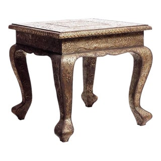 Hammered Square Silver Table For Sale