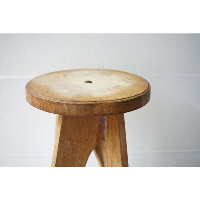 1970s Vintage Wooden Table/Stool For Sale - Image 5 of 7