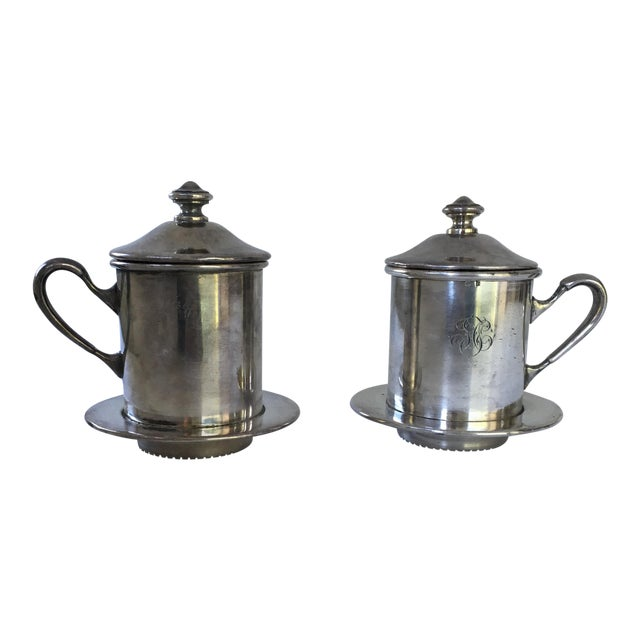 French Silverware Egoist Tea Cup Filter Set, 1850 For Sale