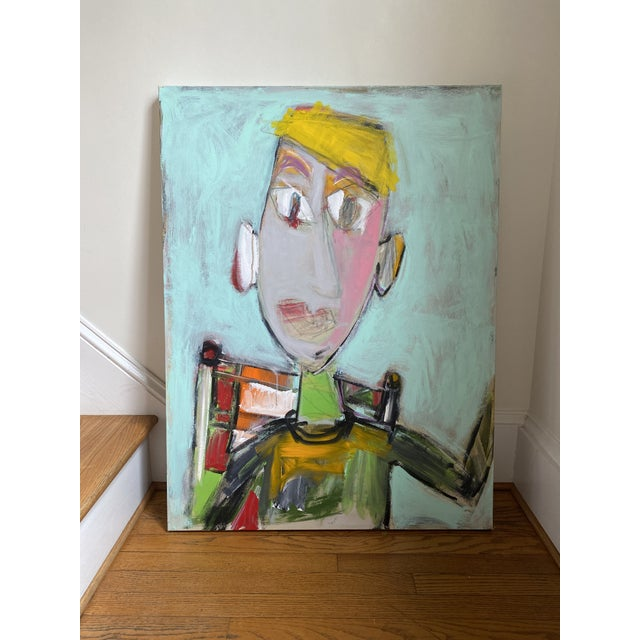 A playful, abstracted, curiously smiling face sure to brighten any decor. 40 x 30 x 1.5. Edges painted pale grey, back...