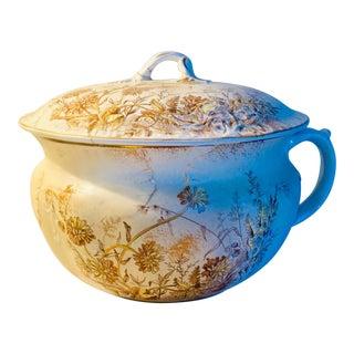 1895 Antique Aesthetic Movement Semi-Porcelain Bourdalou Chamber Pot For Sale