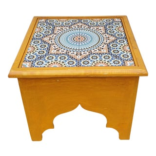 Moroccan Wooden Tile Top Side Table For Sale