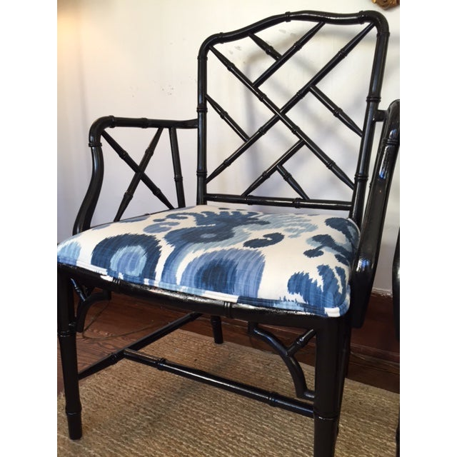 Chinese Chippendale Faux Bamboo Chairs - A Pair - Image 3 of 9