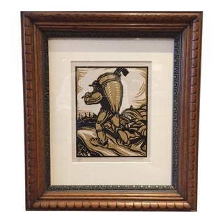 Framed Woodcut in Colors by Jacques Le Chevallier, French, 1927 For Sale