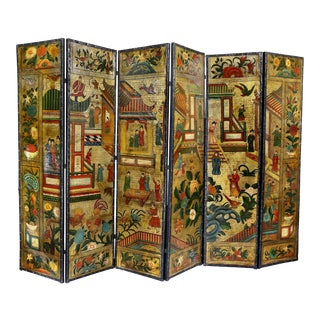 Dutch Leather Chinoiserie Decorated Six-Panel Screen For Sale