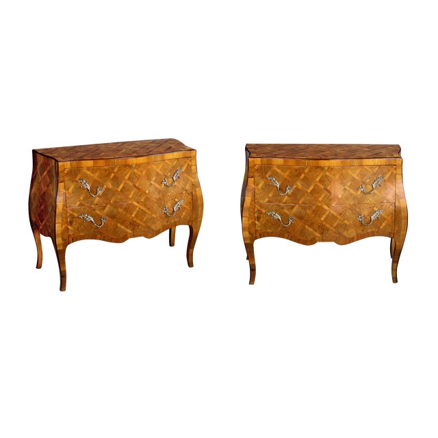 A Shapely Pair of Italian Rococo Style Bombe-Form Olivewood 2-Drawer Chests With Parquetry Inlay For Sale