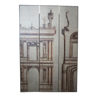 Late 20th Century Greek Roman Neoclassical Architectural Folding Partition Screen For Sale