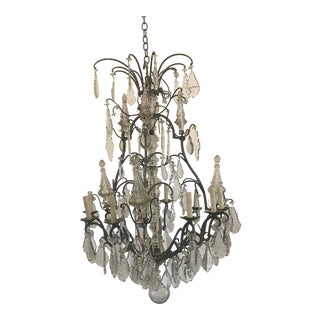 Early 1900s Bronze and Crystal French Chandelier For Sale
