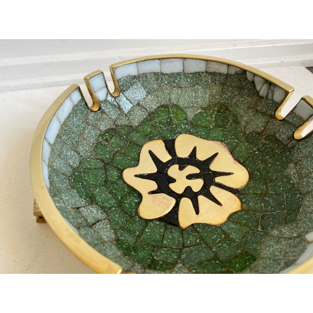 Mid-Century Modern Mid 20th Century Salvador Teran Brass and Glass Tile Bowl For Sale - Image 3 of 6