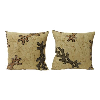 Pair of Yellow & Brown African Mud Cloth Decorative Pillows For Sale