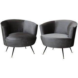 Mid-Century Modern Barrel Chairs in Kravet Velvet For Sale