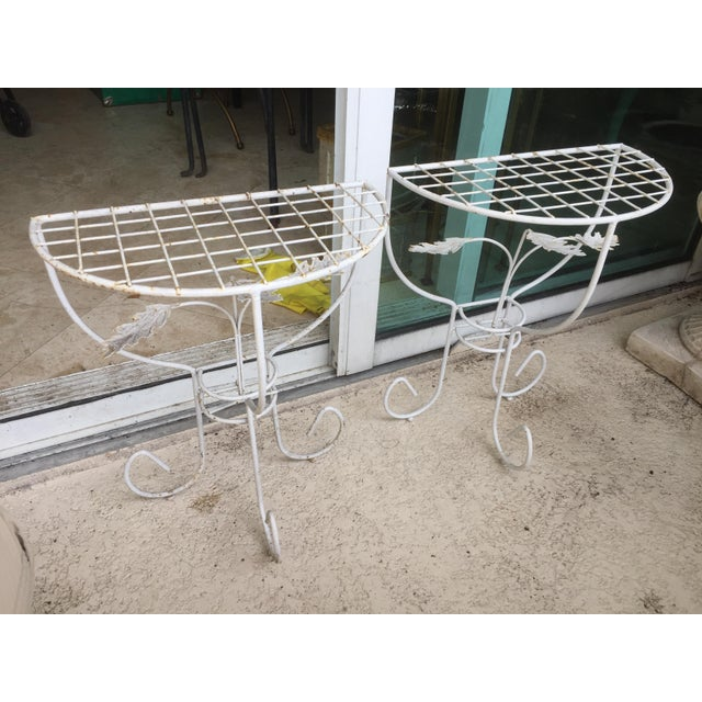 French Provincial White Steel Mesh Coated Metal Demi-Lune Side Tables - a Pair For Sale - Image 3 of 6
