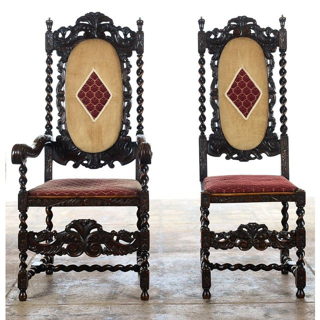 English Renaissance Dining Chairs - Set of 12 - Image 3 of 11