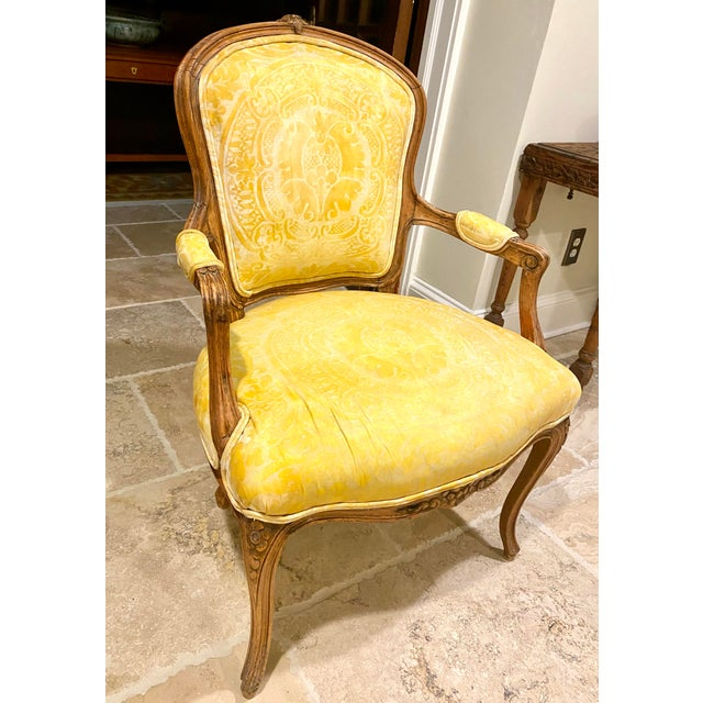 French Fauteuil in Fortuny Fabric For Sale - Image 4 of 10