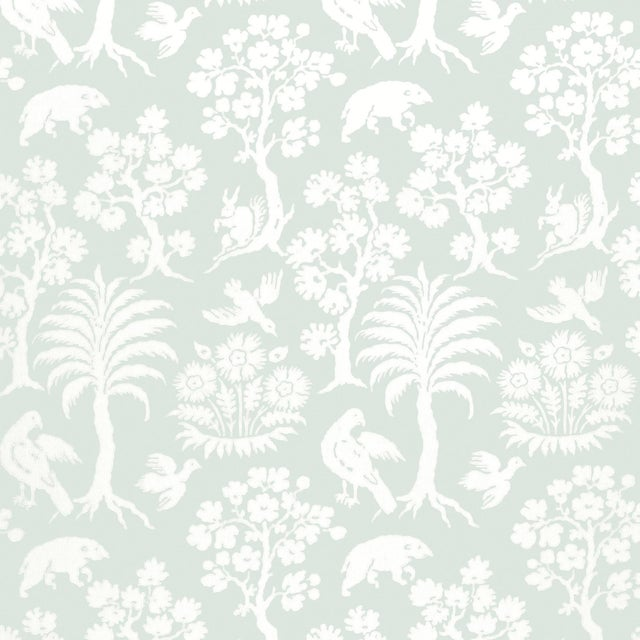 Schumacher Palm Damask Wallpaper in Sky For Sale