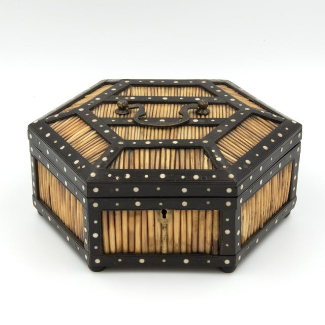 Pair of fine antique Ceylonese ebony and porcupine quill hexagonal boxes with bone accents and brass carrying handles,...