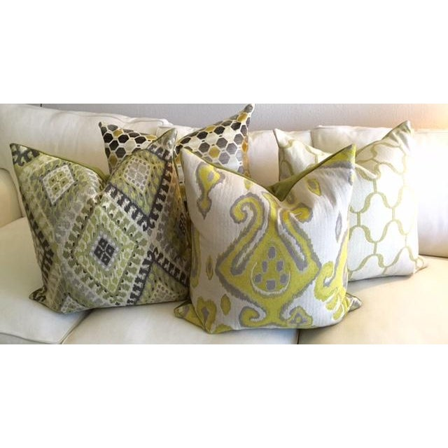 Modern Geometric Chartreuse & Gray Pillow - Image 7 of 7
