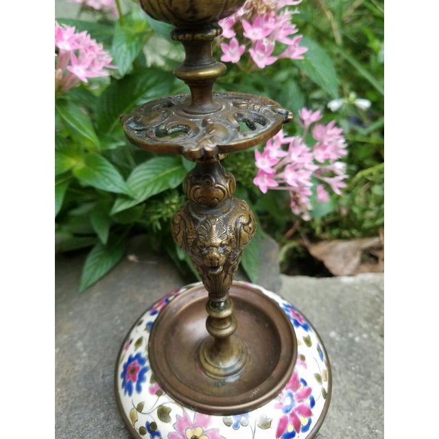 Continental Bronze & Porcelain Candlestick - Image 4 of 9