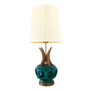 Bitossi Style Wood and Pottery Lamp For Sale