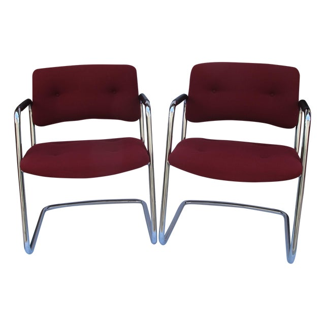 Baughman Style Vintage Chrome Armchairs - A Pair - Image 1 of 6