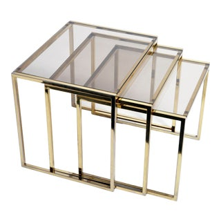 Italian Brass & Glass Nesting Tables - Set of 3 For Sale