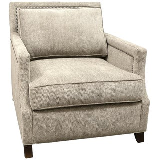 1990s Vintage Taupe Upholstered Club Chair For Sale