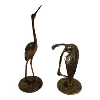 Vintage Brass Crane's - a Pair