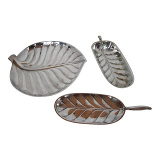 Silver-Plate Leaf Serving Dishes-3 Pieces For Sale