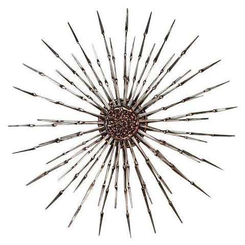 Welded Metal Nail & Bronze Starburst Wall Art | Chairish