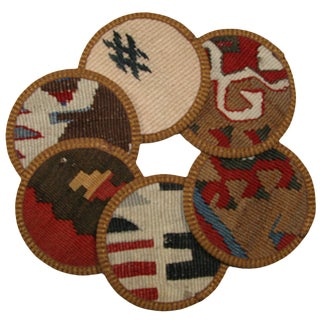 Rug & Relic Kilim Coasters Manyas - Set of 6 For Sale