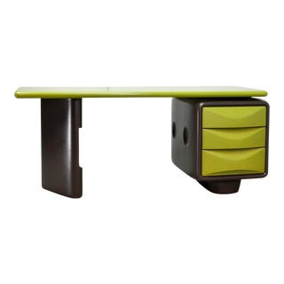 Mid-Century Modern Design Avocado Green and Dark Brown Writing Desk by Ernest Igl, 1970s