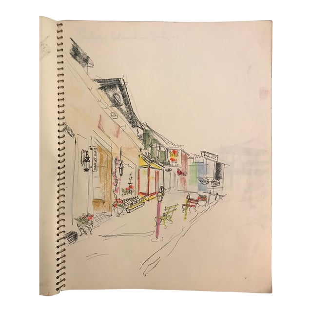 1960s Vintage Downtown Asheville, North Carolina Watercolor Painting For Sale