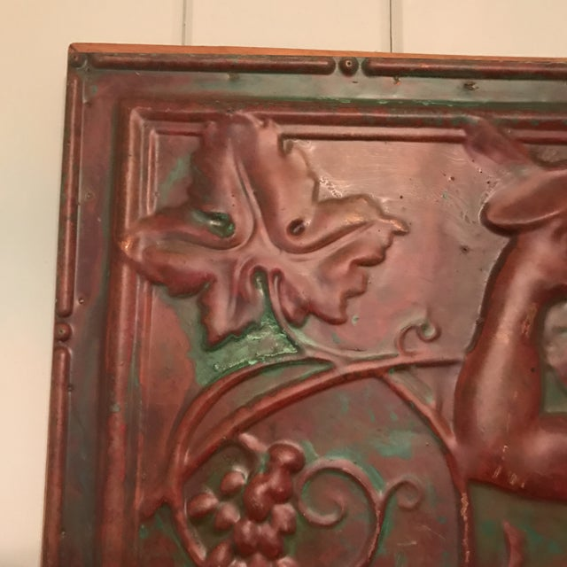 Red Victorian Copper Cherub Wall Panel For Sale - Image 8 of 11