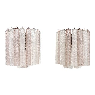 Italian Glass Pale Lavender Pink and Clear Tronchi Murano Sconces by Venini - A Pair For Sale