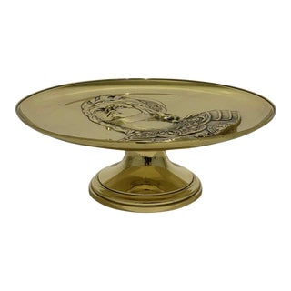 """Antique 19c """"Joan of Arc"""" Bas Relief Tazza Compote Dish Bronze For Sale"""