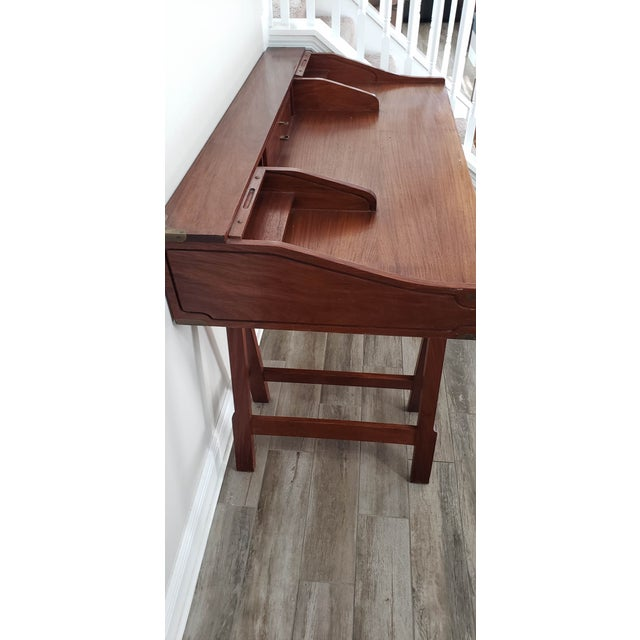 Campaign 20th Century Campaign Mahogany Writing Desk With Sawhorse Legs For Sale - Image 3 of 5