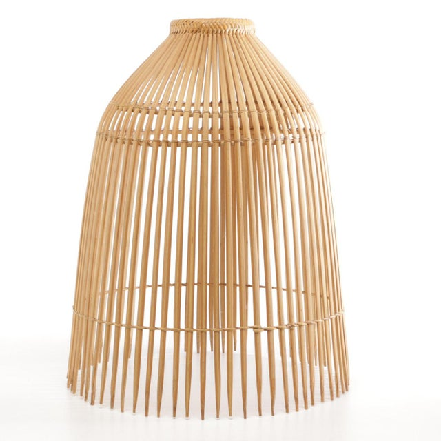Brown 1960s Openwork Wicker Hanging Lampshade For Sale - Image 8 of 8