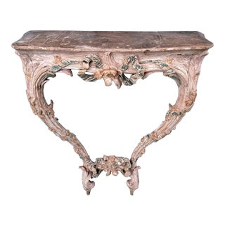 18th C Louis XVI Carved & Painted Wood Console