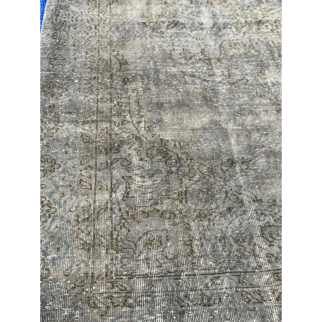 1920s Antique Turkish Distressed Rug- 6′1″ × 10′6″ For Sale - Image 9 of 12