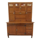 Image of Early 20th Century Antique Sellers Hoosier Cabinet With Slag Glass Panels For Sale