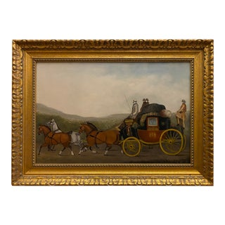 Coach Scene Oil Painting on Canvas For Sale