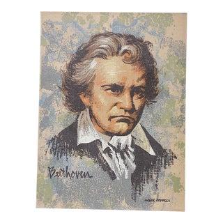 Vintage Ltd. Ed. Serigraph-Mark Coomer-Listed American Artist-Beethoven For Sale