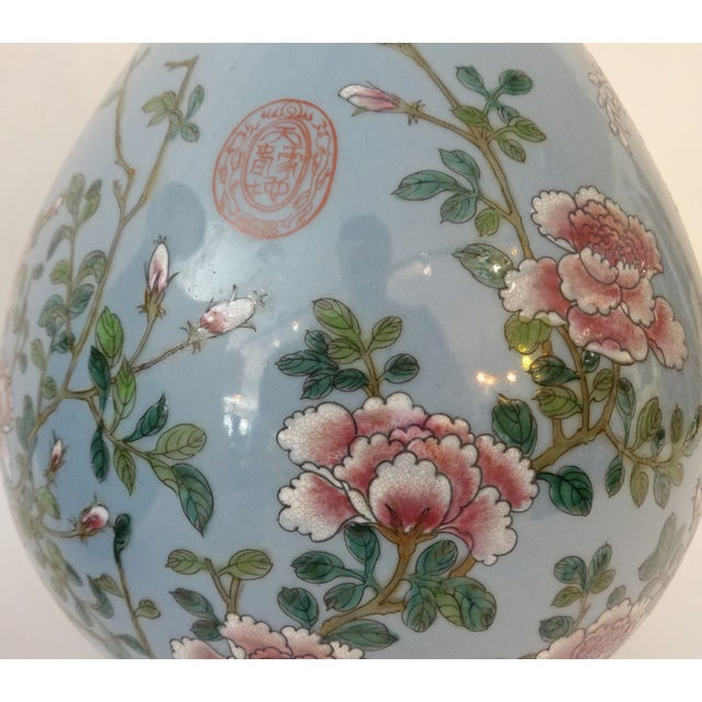 Powder Blue Famille Rose Vases- A Pair For Sale - Image 4 of 7