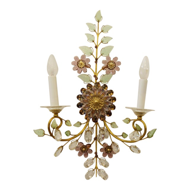 Austrian Vintage Crystal Flowers Wall Sconce For