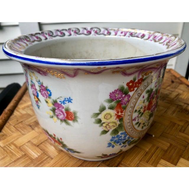 Floral and Swag Gilt Porcelain Cachepot Planter For Sale - Image 4 of 12