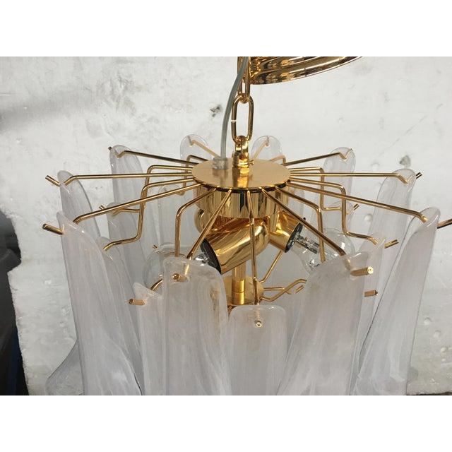 "Mazzega Style Murano Glass Chandelier ""Petali "" Selle Metal frame gold murano glass very rare color in alabastro Diameter..."