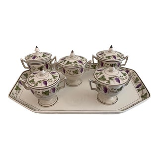 Antique Wedgwood Etruria Lidded Creme De Pots on Tray - Set of 6 For Sale