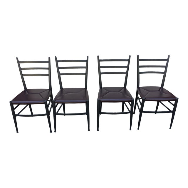 Mid-Century Italian Dining Side Chairs - Set of 4 For Sale