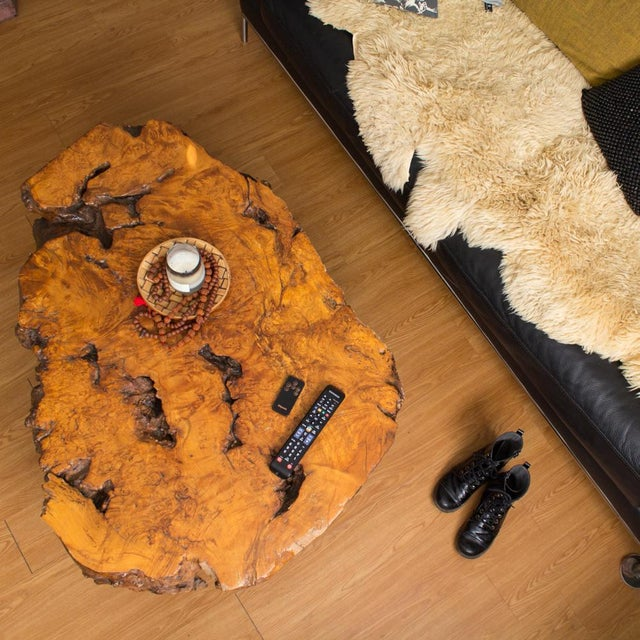 Contemporary Live Edge Maple Burlwood Coffee Table For Sale - Image 3 of 11