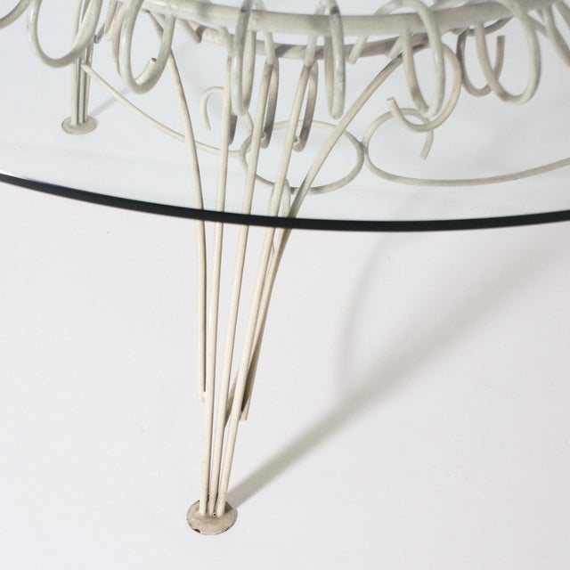 Mid-Century Modern Round Metal Dining Table With Clear Glass Top, C. 1950 For Sale - Image 3 of 11